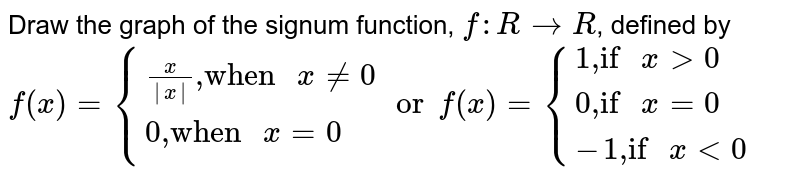 """Draw the graph of the signum function, `f:RtoR`, defined by <br> `f(x)={{:((x)/(