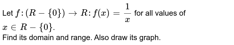 """Let `f:(R-{0})toR:f(x)=(1)/(x)` for all values of `x""""""""inR-{0}`. <br> Find its domain and range. Also draw its graph."""