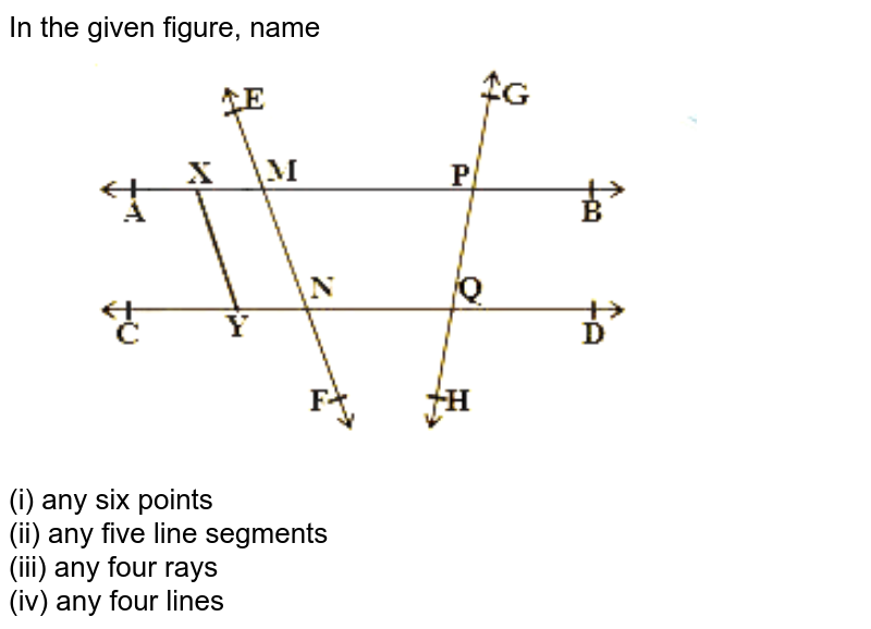 """In the given figure, name <br> <img src=""""https://d10lpgp6xz60nq.cloudfront.net/physics_images/NCERT_TEL_MAT_IX_C04_E01_001_Q01.png"""" width=""""80%""""> <br> (i) any six points <br> (ii) any five line segments <br> (iii) any four rays <br> (iv) any four lines <br>"""