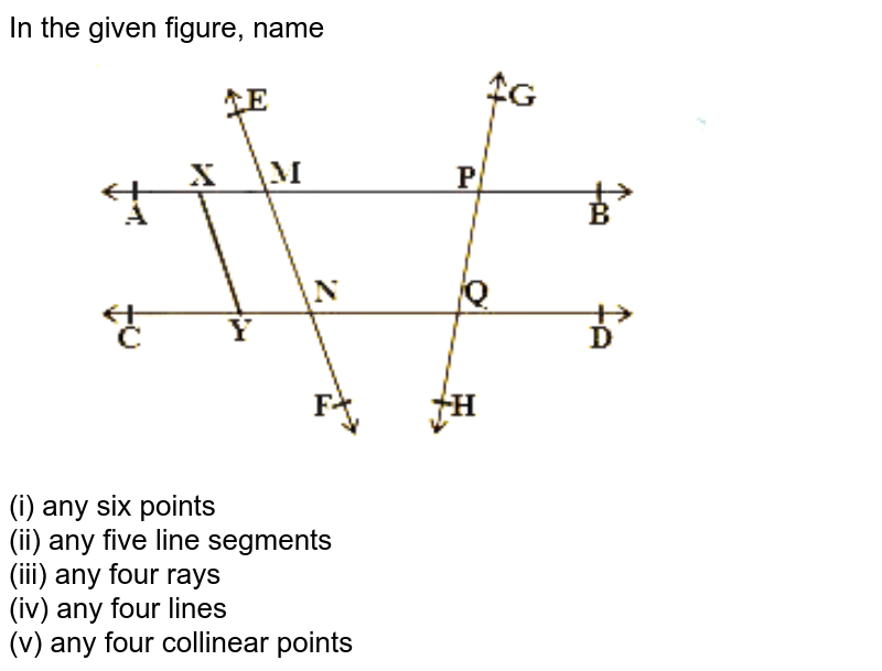 """In the given figure, name <br> <img src=""""https://d10lpgp6xz60nq.cloudfront.net/physics_images/NCERT_BEN_MAT_IX_C04_E01_001_Q01.png"""" width=""""80%""""> <br> (i) any six points <br> (ii) any five line segments <br> (iii) any four rays <br> (iv) any four lines <br> (v) any four collinear points"""