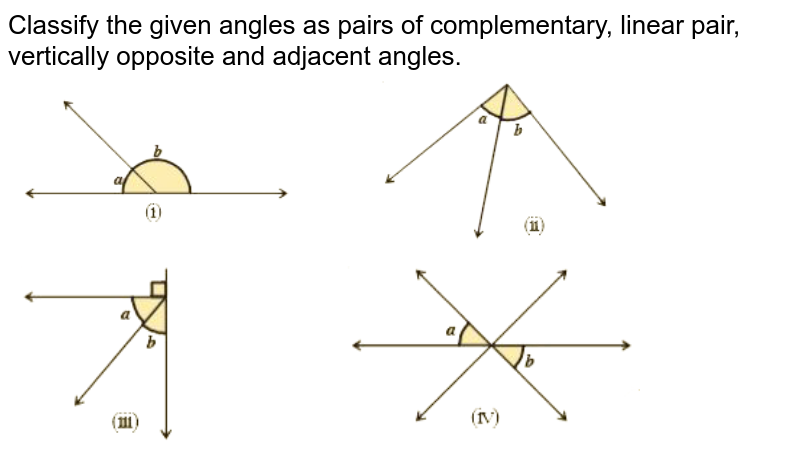 """Classify the given angles as pairs of complementary, linear pair, vertically opposite and adjacent angles. <br> <img src=""""https://d10lpgp6xz60nq.cloudfront.net/physics_images/NCERT_BEN_MAT_IX_C04_E05_003_Q01.png"""" width=""""80%""""> <br> <img src=""""https://d10lpgp6xz60nq.cloudfront.net/physics_images/NCERT_BEN_MAT_IX_C04_E05_003_Q02.png"""" width=""""80%"""">"""