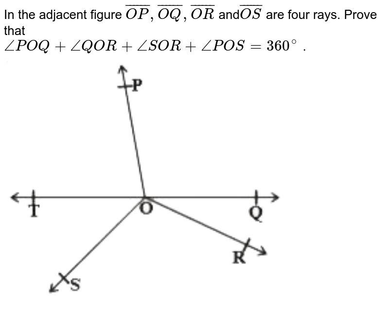 """In the adjacent figure `bar(OP) , bar(OQ) , bar(OR)` and`bar(OS)` are four rays. Prove that <br> `anglePOQ+angleQOR+angleSOR+anglePOS=360^(@)` . <br> <img src=""""https://d10lpgp6xz60nq.cloudfront.net/physics_images/NCERT_TAM_MAT_IX_C04_SLV_007_Q01.png"""" width=""""80%"""">"""