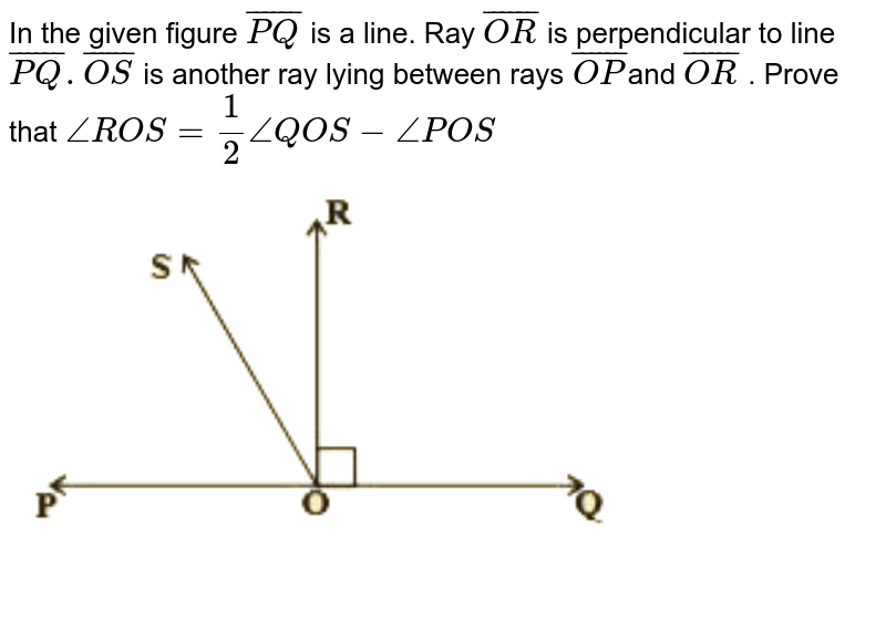 """In the given figure `bar(PQ)`  is a line. Ray `bar(OR)` is perpendicular to line `bar(PQ) . bar(OS)` is another ray lying between rays `bar(OP) `and `bar(OR)` . Prove that  `angleROS = (1)/(2) angleQOS − anglePOS` <br> <img src=""""https://d10lpgp6xz60nq.cloudfront.net/physics_images/NCERT_TAM_MAT_IX_C04_E02_007_Q01.png"""" width=""""80%"""">"""