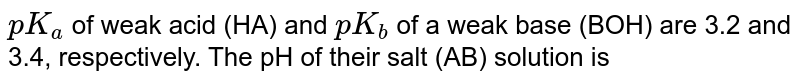 `pK_(a)` of weak acid (HA) and `pK_(b)` of a weak base (BOH) are 3.2 and 3.4, respectively. The pH of their salt (AB) solution is