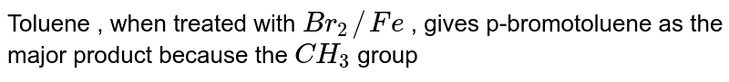 Toluene , when treated with `Br_2//Fe` , gives p-bromotoluene as the major product because the `CH_3` group