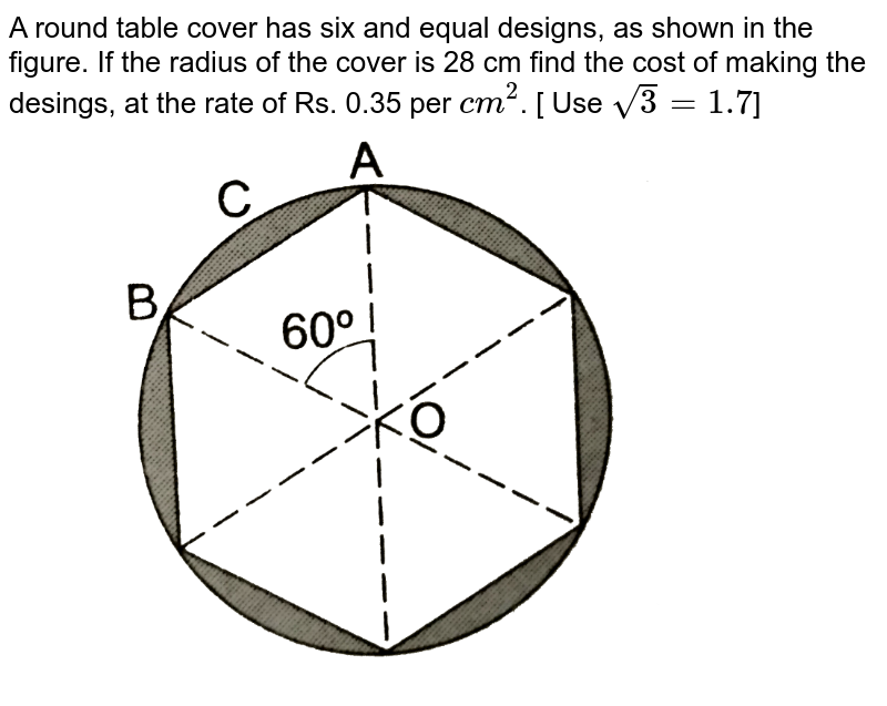 """A round table cover has six and equal designs, as shown in the figure. If the radius of the cover is 28 cm find the cost of making the desings, at the rate of Rs. 0.35 per `cm^(2)`. [ Use `sqrt(3)=1.7`] <br> <img src=""""https://d10lpgp6xz60nq.cloudfront.net/physics_images/RSA_MATH_X_C16_S01_023_Q01.png"""" width=""""80%"""">"""