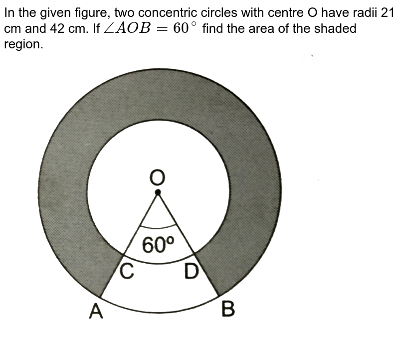"""In the given figure, two concentric circles with centre O have radii 21 cm and 42 cm. If `/_AOB=60^(@)` find the area of the shaded region. <br> <img src=""""https://d10lpgp6xz60nq.cloudfront.net/physics_images/RSA_MATH_X_C16_S01_044_Q01.png"""" width=""""80%"""">"""