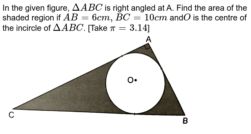 """In the given figure, `DeltaABC` is right angled at A. Find the area of the shaded region if `AB=6cm, BC=10cm` and`O` is the centre of the incircle of `DeltaABC`. [Take `pi=3.14`]  <br> <img src=""""https://d10lpgp6xz60nq.cloudfront.net/physics_images/RSA_MATH_X_C16_E01_057_Q01.png"""" width=""""80%"""">"""