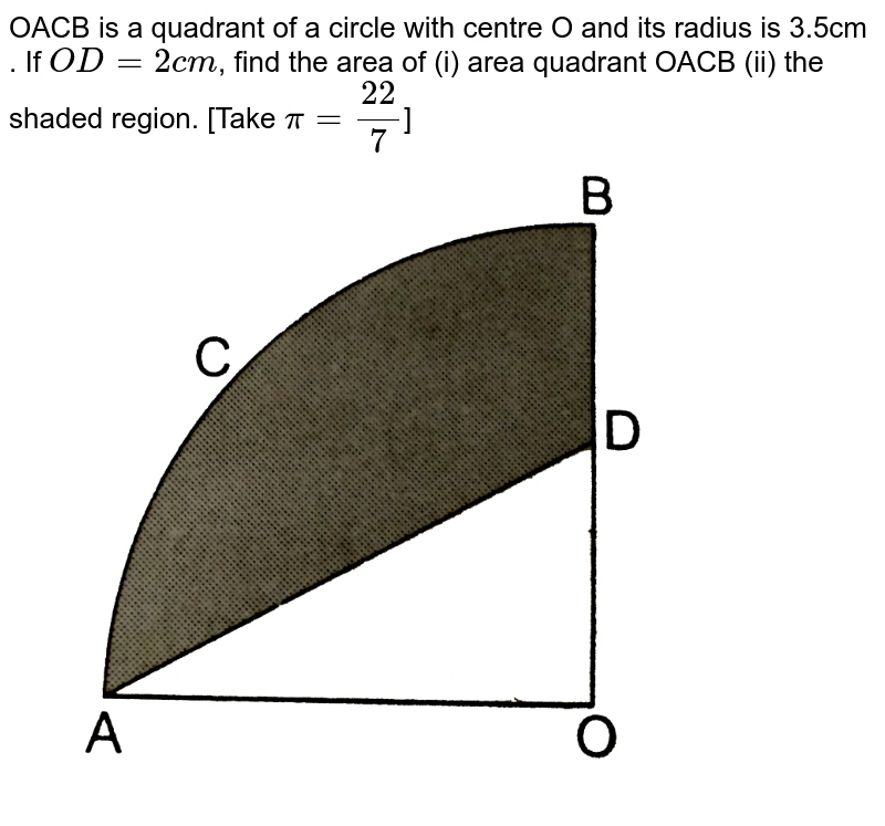 """OACB is a quadrant of a circle with centre O and its radius is 3.5cm . If `OD=2cm`, find the  area of (i) area quadrant OACB (ii) the shaded region. [Take `pi=22/7`] <br> <img src=""""https://d10lpgp6xz60nq.cloudfront.net/physics_images/RSA_MATH_X_C16_E04_013_Q01.png"""" width=""""80%"""">"""
