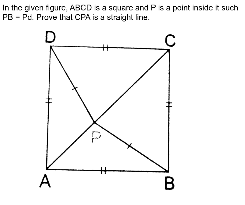 """In the given figure, ABCD is a square and P is a point inside it such PB = Pd. Prove that CPA is a straight line. <br> <img src=""""https://d10lpgp6xz60nq.cloudfront.net/physics_images/RSA_MATH_IX_C09_E01_014_Q01.png"""" width=""""80%"""">"""