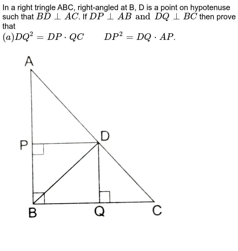 """In a right tringle ABC, right-angled at B, D is a point on hypotenuse such that `BD bot AC`. If `DP bot AB and DQ bot BC` then prove that <br> `(a) DQ^(2)=DP*QC""""     """" DP^(2)=DQ*AP`. <br> <img src=""""https://d10lpgp6xz60nq.cloudfront.net/physics_images/RSA_MATH_X_C07_E02_019_Q01.png"""" width=""""80%"""">"""