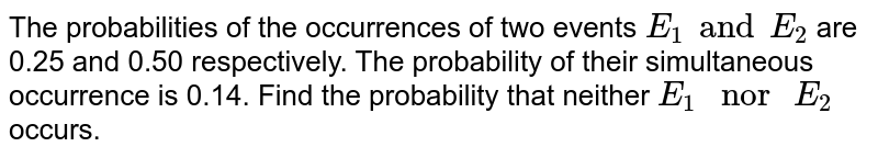 """The probabilities of the occurrences of two events `E_(1) and E_(2)` are 0.5 and 0.50 respectively. The probability of their simultaneous occurrence is 0.14. Find the probability that neither `E_(1) """" nor """" E_(2)` occurs."""