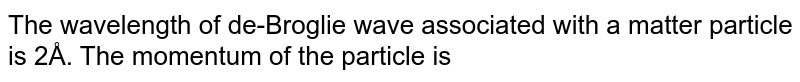 The wavelength of de-Broglie wave associated with a matter particle is 2Å. The momentum of the particle is