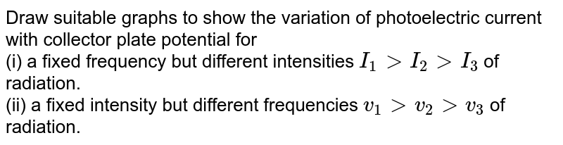 Draw suitable graphs to show the variation of photoelectric current with collector plate potential for <br> (i) a fixed frequency but different intensities `I_(1) gt I_(2) gt I_(3)` of radiation. <br> (ii) a fixed intensity but different frequencies `v_(1) gt v_(2) gt v_(3)` of radiation.