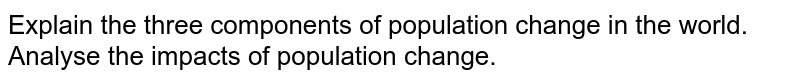 Explain the three components of population change in the world. Analyse the impacts of population change.