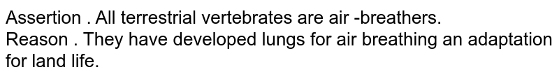 Assertion . All  terrestrial  vertebrates  are air -breathers.  <br> Reason . They  have  developed  lungs  for air  breathing  an  adaptation  for land  life.