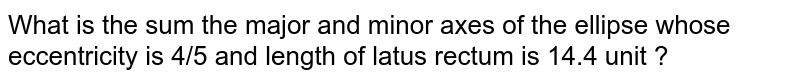 What is the sum the major and minor axes of the ellipse whose eccentricity is 4/5 and length of latus rectum is 14.4 unit ?