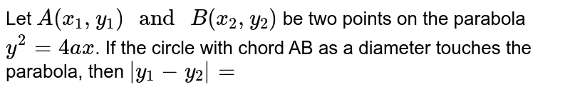 """Let `A(x_(1), y_(1))"""" and """"B(x_(2), y_(2))` be two points on the parabola `y^(2)=4ax`. If the circle with chord AB as a diameter touches the parabola, then ` y_(1)-y_(2) =`"""