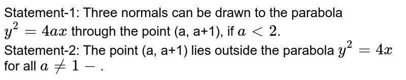 Statement-1: Three normals can be drawn to the parabola`y^(2)=4ax` through the point (a, a+1), if `alt2`. <br> Statement-2: The point (a, a+1) lies outside the parabola `y^(2)=4x` for all `a ne -1`.
