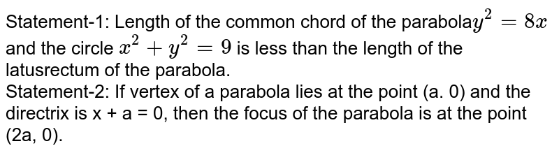 Statement-1: Length of the common chord of the parabola`y^(2)=8x` and the circle `x^(2)+y^(2)=9` is less than the length of the latusrectum of the parabola. <br> Statement-2: If vertex of a parabola lies at the point (a. 0) and the directrix is x + a = 0, then the focus of the parabola is at the point (2a, 0).