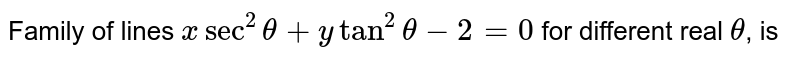 Family of lines `x sec^(2) theta + y tan^(2)theta -2=0` for different real `theta`, is
