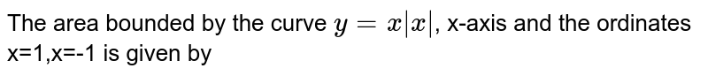 The area bounded by the curve `y=x|x|`, x-axis and the ordinates x=1,x=-1 is given by