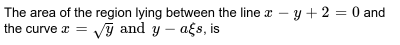 The area of the region lying between the line `x-y+2=0` and the curve `x=sqrt(y)`, is
