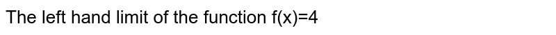 The left hand limit of the function <br>