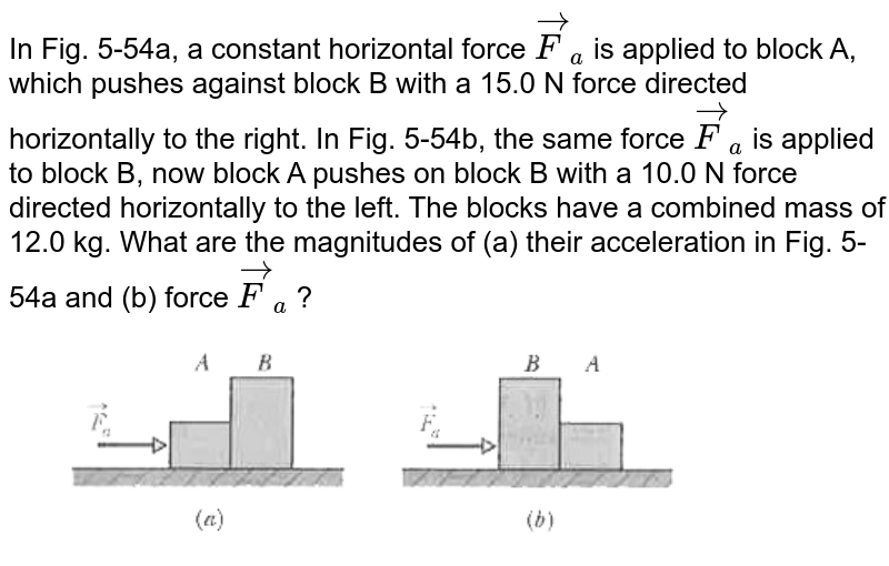 """In Fig. 5-54a, a constant horizontal force `vec(F)_(a)` is applied to block A, which pushes against block B with a 15.0 N force directed horizontally to the right. In Fig. 5-54b, the same force `vec(F)_(a)` is applied to block B, now block A pushes on block B with a 10.0 N force directed horizontally to the left. The blocks have a combined mass of 12.0 kg. What are the magnitudes of (a) their acceleration in Fig. 5-54a and (b) force `vec(F)_(a)` ? <br> <img src=""""https://d10lpgp6xz60nq.cloudfront.net/physics_images/MST_AG_JEE_MA_PHY_V01_C05_E02_045_Q01.png"""" width=""""80%"""">"""