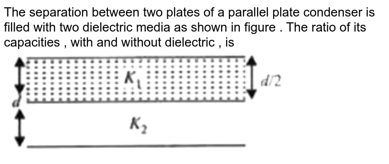 """The separation between two plates of a parallel plate condenser is filled with two dielectric media as shown  in figure . The ratio of its capacities , with and without dielectric , is  <br>  <img src=""""https://d10lpgp6xz60nq.cloudfront.net/physics_images/MTG_WB_JEE_PHY_C12_E01_046_Q01.png"""" width=""""80%"""">"""