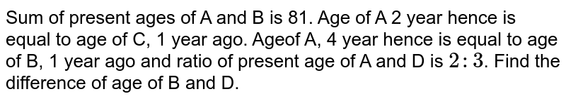 Sum of present ages of A and B is 81. Age of A 2 year hence is equal to age of C, 1 year ago. Ageof A, 4 year hence is equal to age of B, 1 year ago and ratio of present age of A and D is `2:3`. Find the difference of age of B and D.