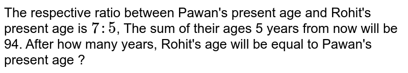 The respective ratio between Pawan's present age and Rohit's present age is `7:5`, The sum of their ages 5 years from now will be 94. After how many years, Rohit's age will be equal to Pawan's present age ?