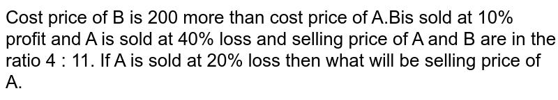 Cost price of B is 200 more than cost price of A.Bis sold at 10% profit and A is sold at 40% loss and selling price of A and B are in the ratio 4 : 11. If A is sold at 20% loss then what will be selling price of A.