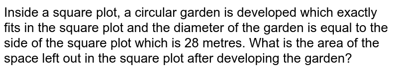 Inside a square plot, a circular garden is developed which exactly fits in the square plot and the diameter of the garden is equal to the side of the square plot which is 28 metres. What is the area of the space left out in the square plot after developing the garden?