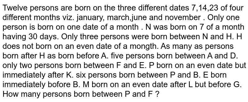 Twelve persons are born on the three different dates 7,14,23 of four different months viz. january, march,june and november . Only one person is born on one date of a month . N was born on 7 of a month having 30 days. Only three persons were born between N and H. H does not born on an even date of a mongth. As many as persons born after H as born before A. five persons born between A and D. only two persons born between F and E. P born on an even date but immediately after K. six persons born between P and B. E born immediately bofore B. M born on an even date after L but before G. <br> How many persons born between P and F ?