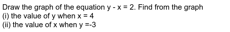 Draw the graph of the equation y - x = 2. Find from the graph <br> (i) the value of y when x = 4 <br> (ii) the value of x when y =-3