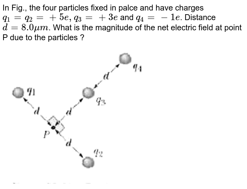"""In Fig., the four particles fixed in palce and have charges `q_(1) = q_(2) = +5e, q_(3) = +3e` and `q_(4) = -1e`. Distance `d = 8.0 mu m`. What is the magnitude of the net electric field at point P due to the particles ? <br> <img src=""""https://d10lpgp6xz60nq.cloudfront.net/physics_images/MST_AG_JEE_MA_PHY_V02_C22_E02_049_Q01.png"""" width=""""80%"""">"""