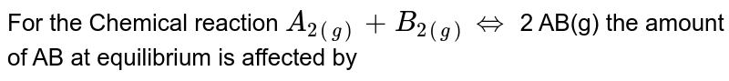 For the Chemical reaction `A_(2(g)) + B_(2(g)) hArr ` 2 AB(g) the amount of AB at equilibrium is affected by