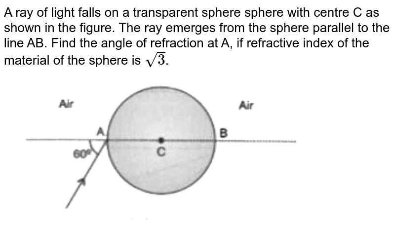 """A ray of light falls on a transparent sphere sphere with centre C as shown in the figure. The ray emerges from the sphere parallel to the line AB. Find the angle of refraction at A, if refractive index of the material of the sphere is `sqrt(3)`. <br> <img src=""""https://d10lpgp6xz60nq.cloudfront.net/physics_images/OSW_SP_PHY_XII_C09_E01_004_Q01.png"""" width=""""80%"""">"""