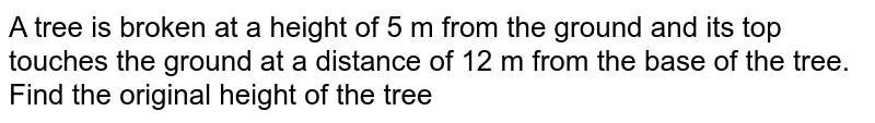 A tree is broken at a height of 5 m from the ground and its top touches the ground at a distance of 12 m from the base of   the tree. Find the original height of the tree