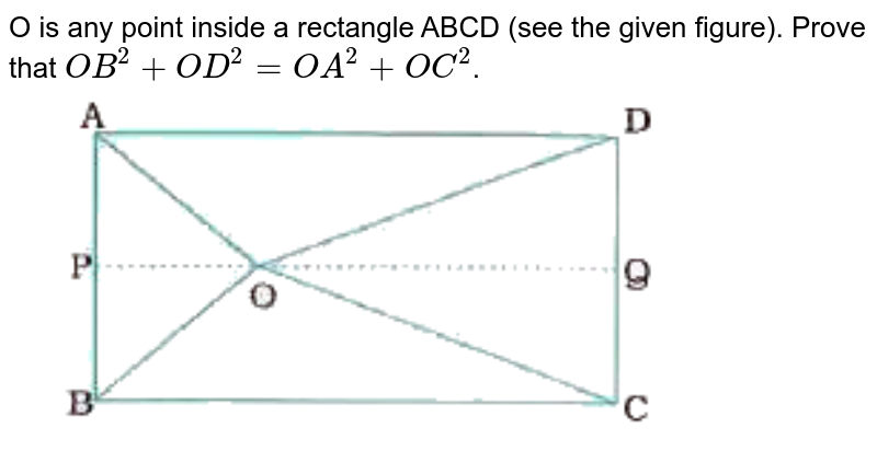 'O' is any point inside a rectangle ABCD. Prove that ` OB^(2) + OD^(2) = OA^(2) + OC^(2)`