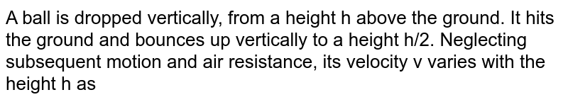 A ball is dropped vertically, from a height h above the ground. It hits the ground and bounces up vertically to a height h/2. Neglecting subsequent motion and air resistance, its velocity v varies with the height h as