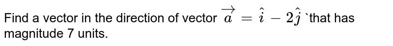 Find a vector in the direction of vector `veca= hat i-2 hat j` `that has  magnitude 7 units.