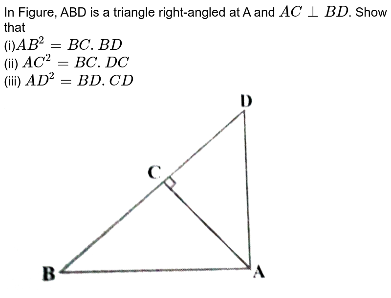"""In  Figure, ABD is a triangle right-angled at A and `A C_