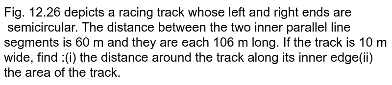 Fig. 12.26 depicts a racing track whose left and  right ends are semicircular. The  distance between the two inner parallel line segments is 60 m and they are  each 106 m long. If the track is 10 m wide, find :(i) the distance around the track along its inner  edge(ii) the area of the track.