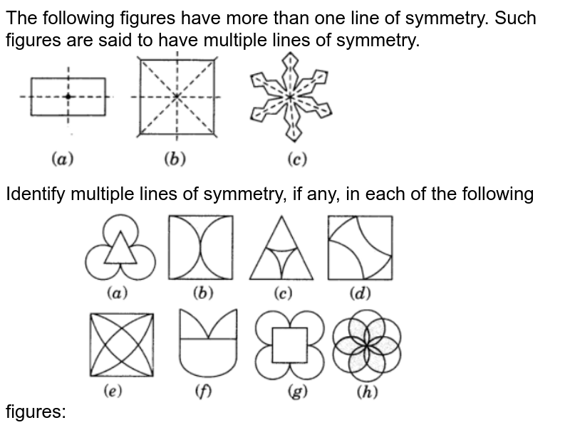 """The following figures have more than one line of symmetry. Such  figures are said to have multiple lines of symmetry.Identify multiple lines of symmetry, if any, in each of the following  figures:<br> <img src=""""https://d10lpgp6xz60nq.cloudfront.net/physics_images/VII_14_E01_04_Q01.png"""" width=""""60%"""">"""