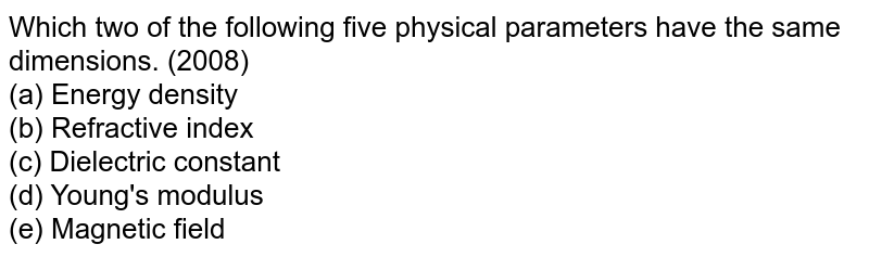 Which two of the following five physical parameters have the same dimensions. (2008) <br> (a) Energy density <br> (b) Refractive index <br> (c) Dielectric constant <br> (d) Young's modulus <br> (e) Magnetic field