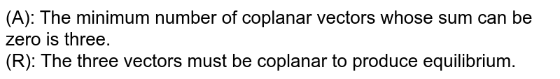 (A): The minimum number of coplanar vectors whose sum can be zero is three. <br> (R): The three vectors must be coplanar to produce equilibrium.