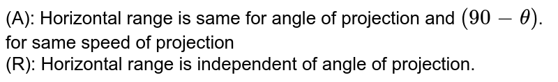 (A): Horizontal range is same for angle of projection and `(90-theta)`. for same speed of projection <br> (R): Horizontal range is independent of angle of projection.