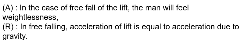 (A) : In the case of free fall of the lift, the man will feel weightlessness, <br>  (R) : In free falling, acceleration of lift is equal to acceleration due to gravity.
